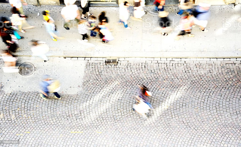 People Walking in the City, London - England stock photo