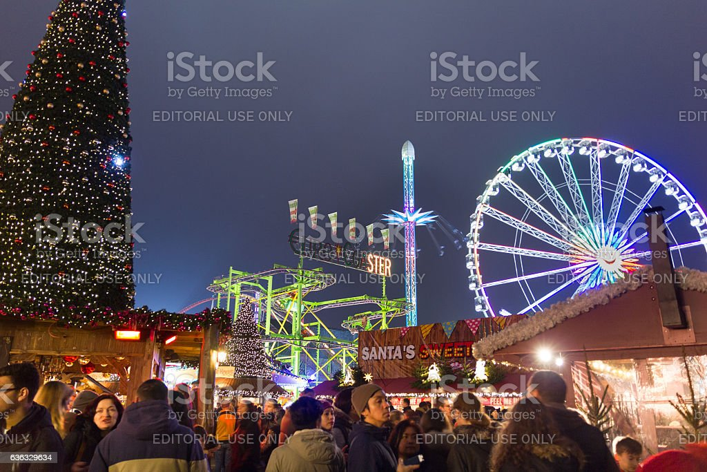 People walking in the Hyde Park's winter WonderLand, London stock photo