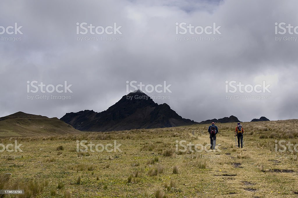 People walking in the Paramo stock photo