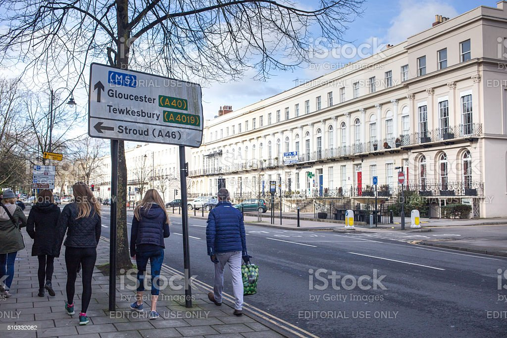 People walking in The Spa Town of Cheltenham stock photo