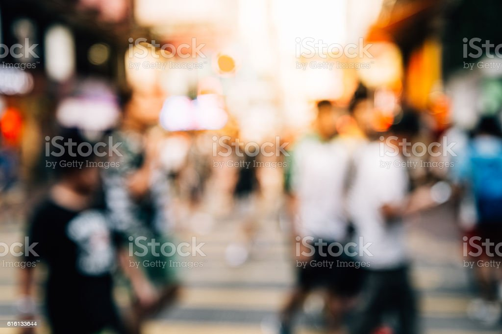 people walking in the street, abstract, blurry,vintage tone stock photo