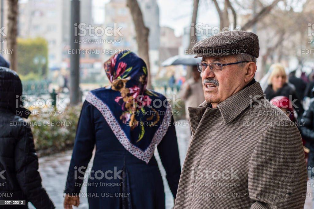 Eskisehir, Turkey - March 13, 2017: People walking in the street stock photo