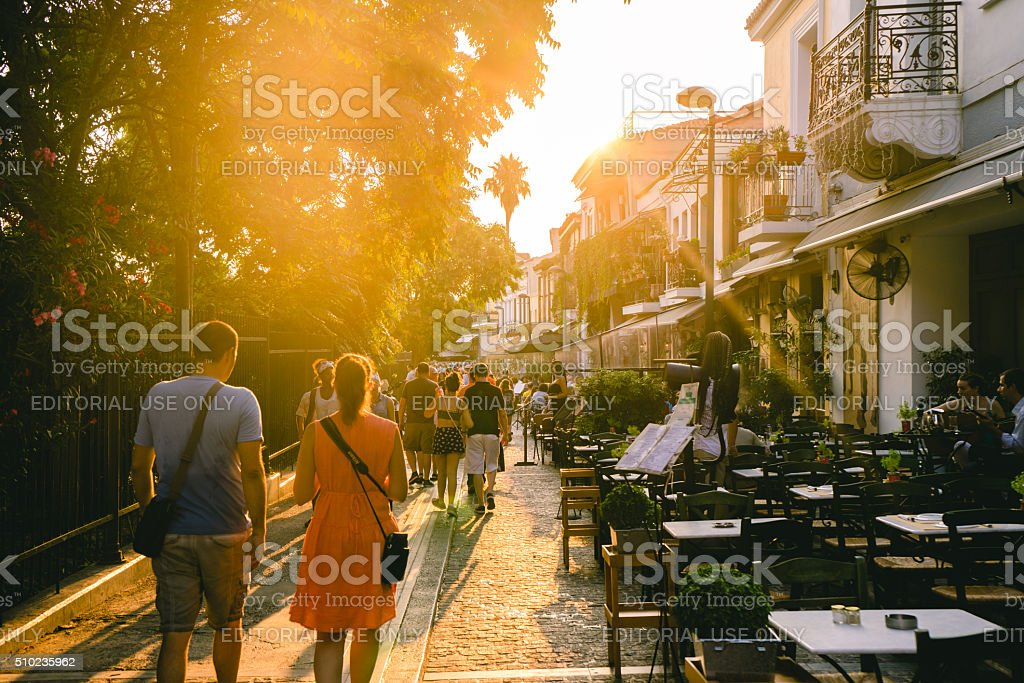 People walking in the streets of Athens in Greece stock photo