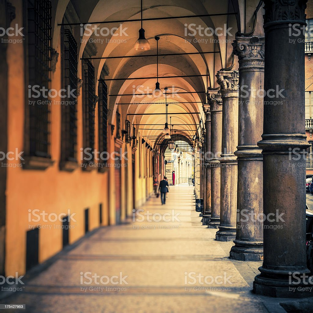People Walking in the Streets of Bologna, Italy stock photo