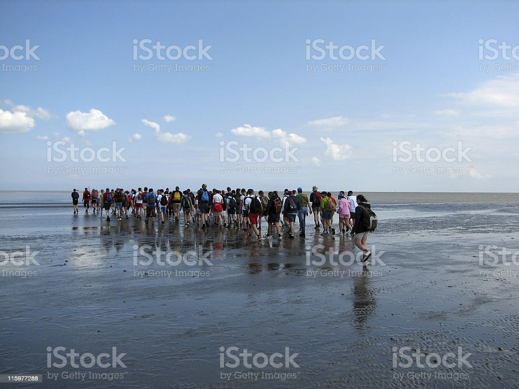 People walking into a sea royalty-free stock photo
