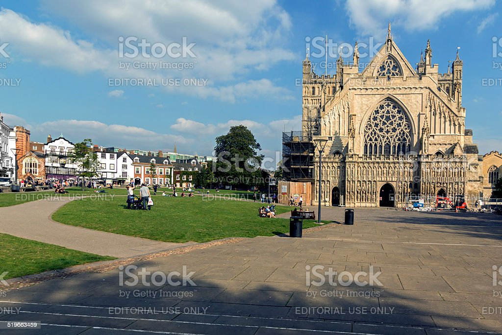 People Walking Near Exeter Cathedral Devon stock photo