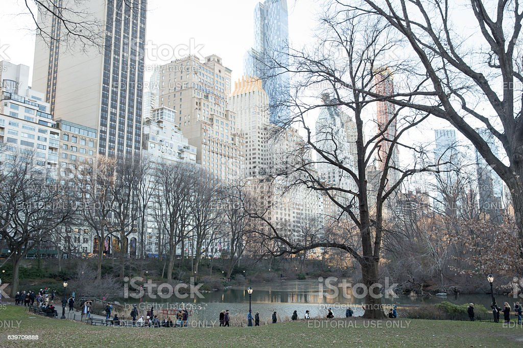people walking near the lake in Central Park, New York. stock photo
