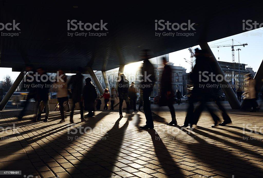 People walking near the metro station. stock photo