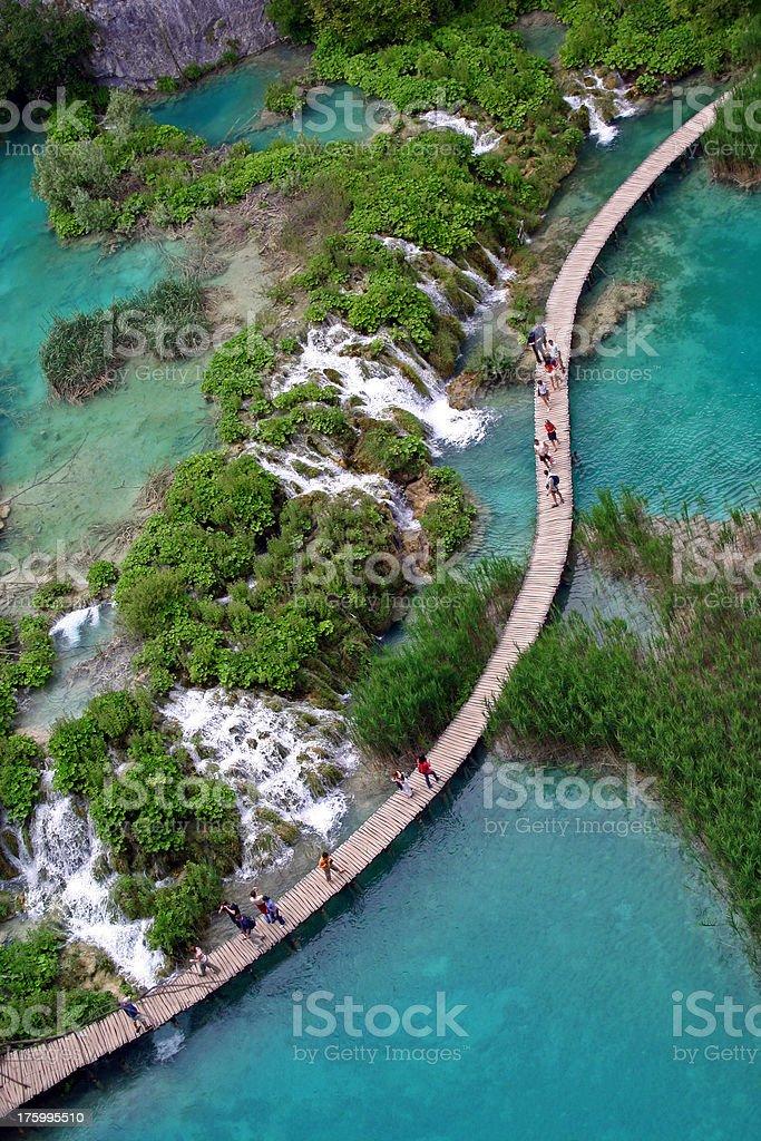 People walking on a footbridge in Plitvice Lakes stock photo
