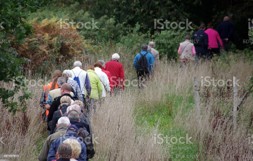 People walking on a nature trip stock photo