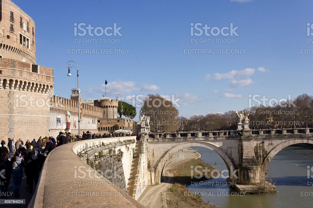 People walking on Lungotevere Castello stock photo