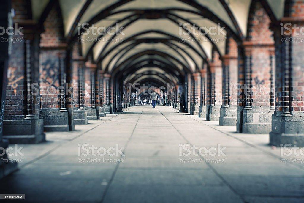 People walking on Oberbaum Bridge in Berlin, Germany royalty-free stock photo