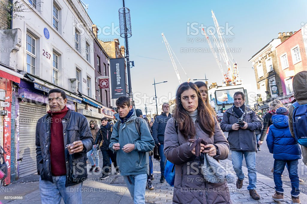 People walking on street at Camden Market stock photo