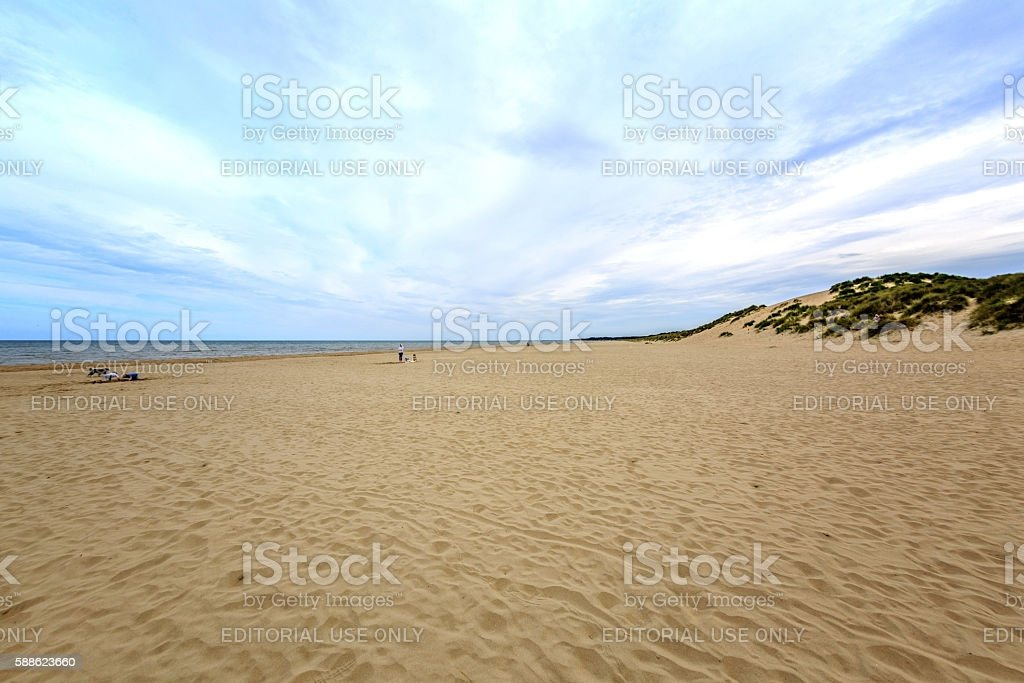 People walking on the beach stock photo