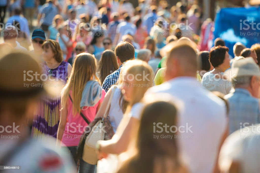 People walking on the city street. stock photo