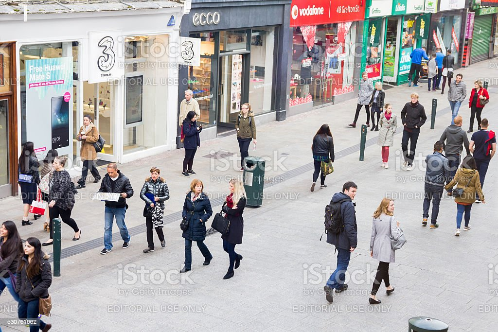 People walking on the Grafton Street, Dublin stock photo