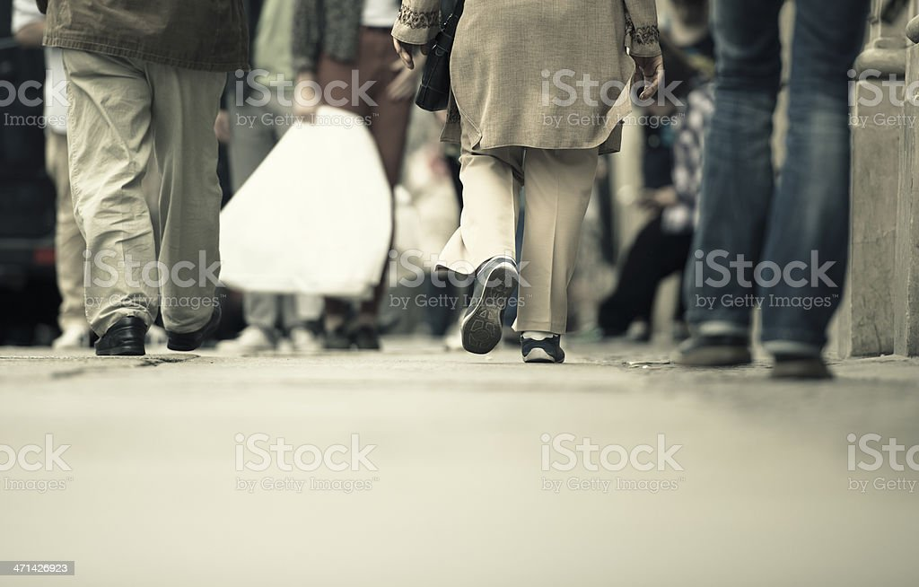 People walking on the street - urban scene stock photo