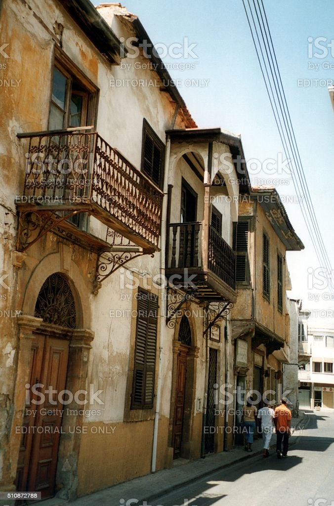 People walking on the streets of Nicosia, Cyprus stock photo