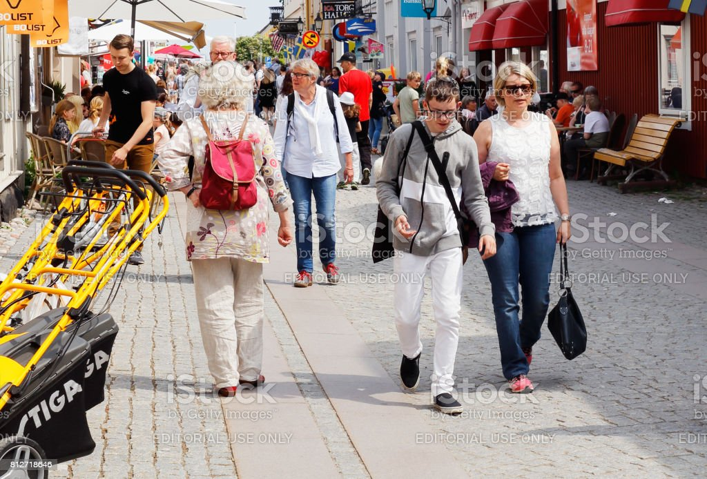 People walking stock photo
