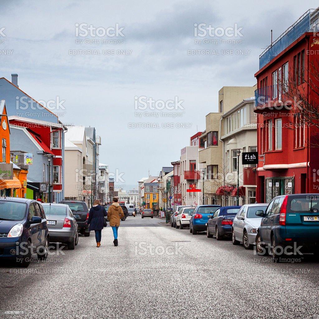 People Walking the Streets of Reykjavik, Iceland stock photo