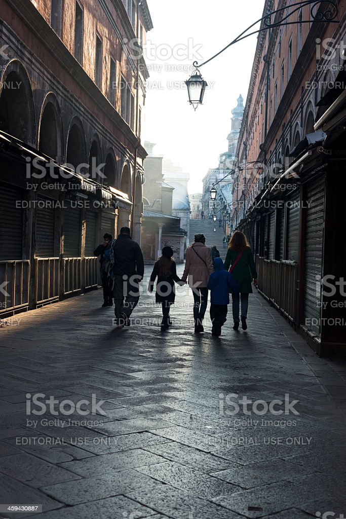 People Walking towards Rialto Bridge in Venice, Italy royalty-free stock photo