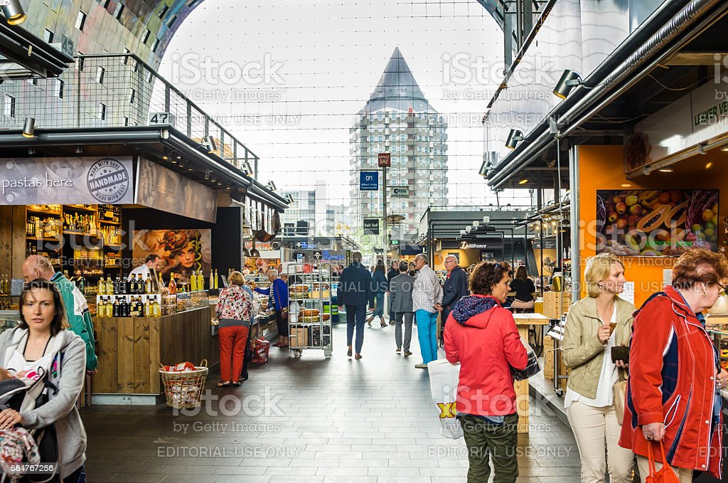 People Wandering around the shops in Market Hall stock photo