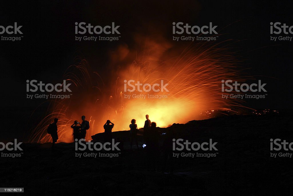 People Watching Lava royalty-free stock photo