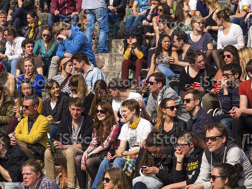 People Watching Performance, Mauerpark, Berlin, Germany royalty-free stock photo