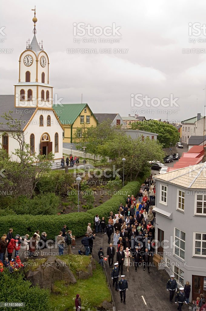 People watching Queen Margarethe II, Torshavn, Faroe Islands, Denmark stock photo