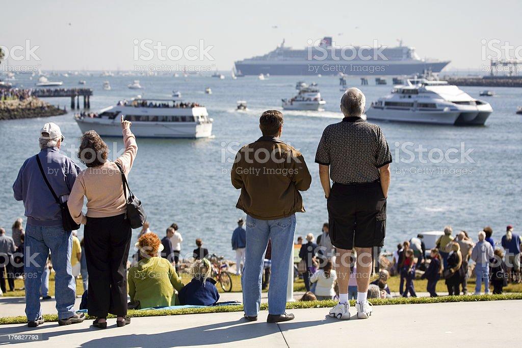 People watching ships stock photo