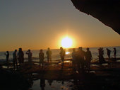 People Watching Tanah Lot Temple Beach Sunset In Bali.Indonesia Asia