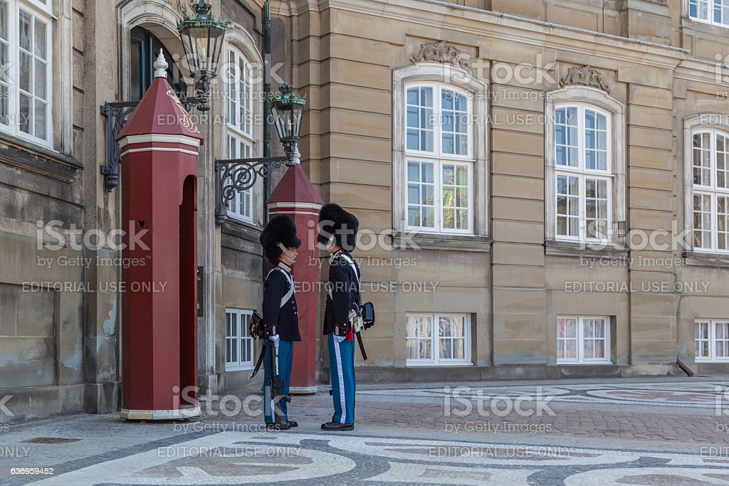 People watching the Ceremony of Changing Guard in Copenhagen, Denmark stock photo