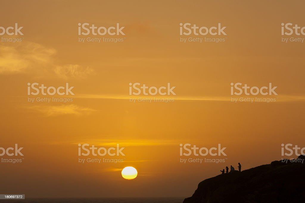 People watching the sunset royalty-free stock photo