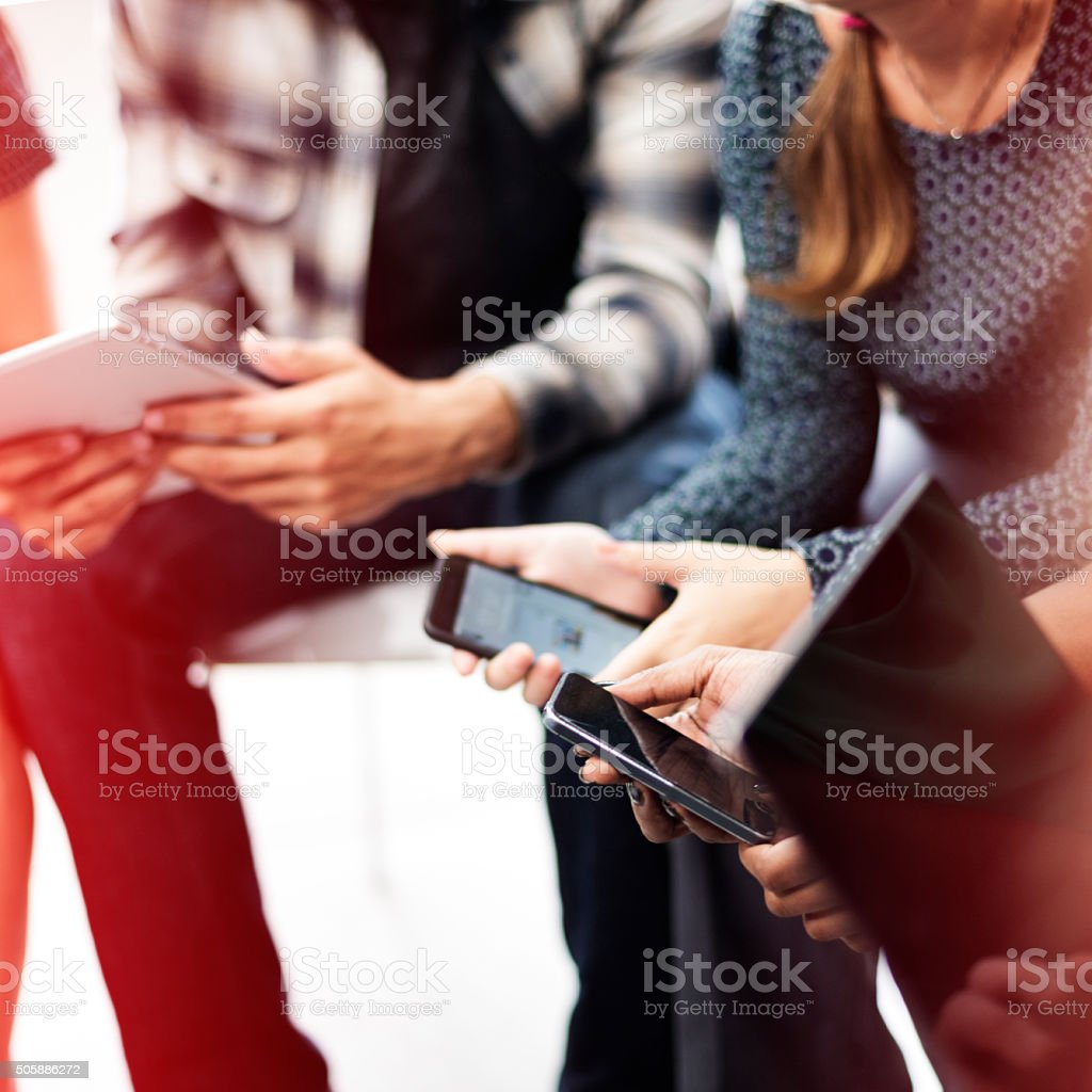 People Wating Digital Tablet Mobile Phone Technology Concept stock photo