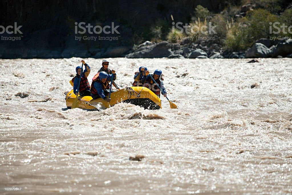 People white water rafting royalty-free stock photo