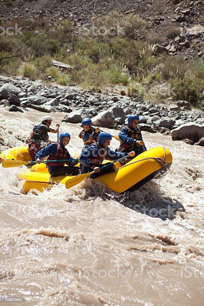 People white water rafting royalty-free stock photo