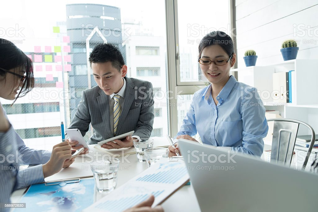 People who have fulfilled the dream. stock photo