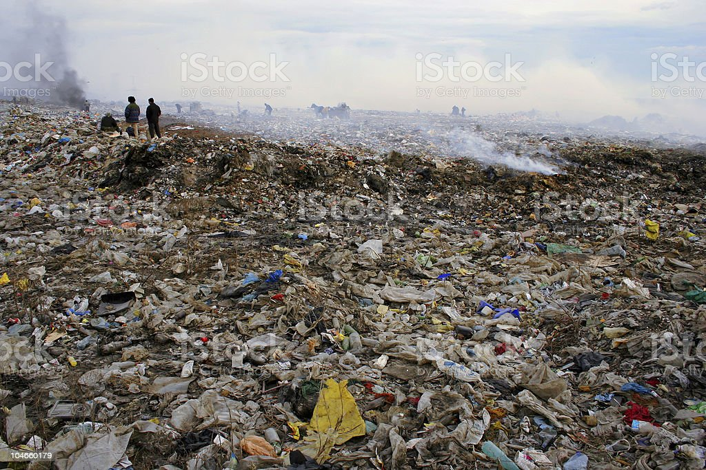People who live in Garbage. Smoke. Pollution. royalty-free stock photo