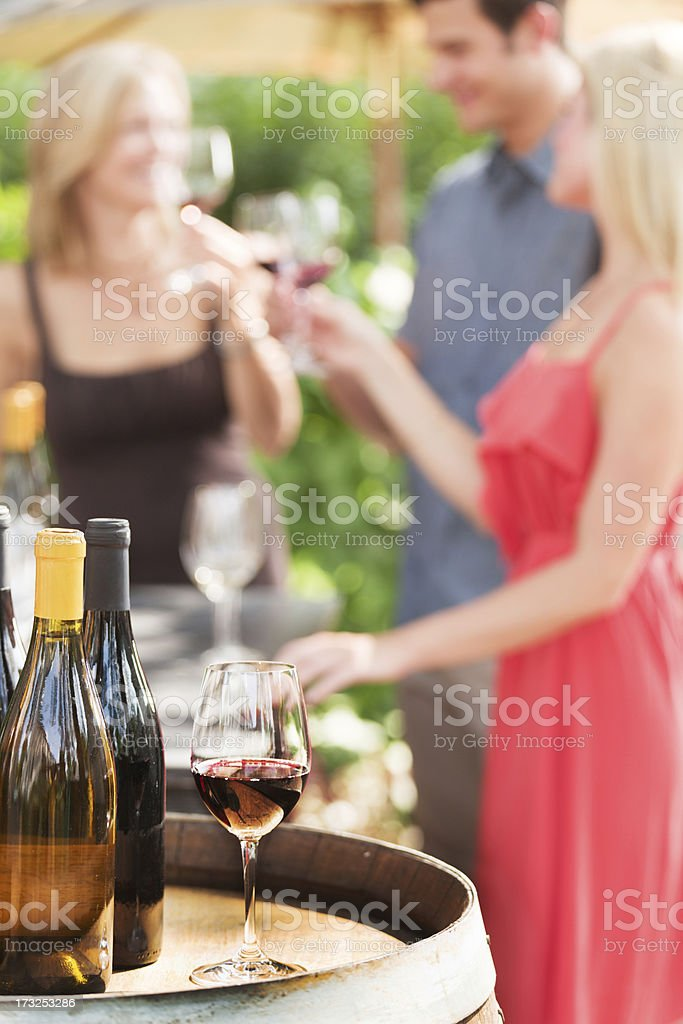 People Winetasting, Friends Smelling and Tasting Napa Valley Red Wine royalty-free stock photo