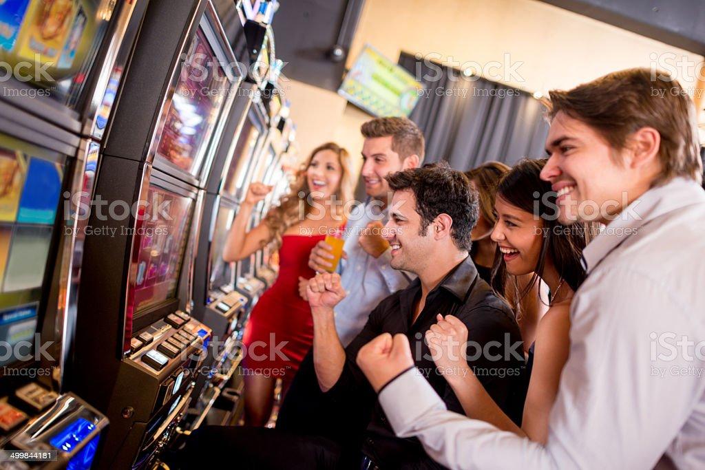 People winning at the casino stock photo