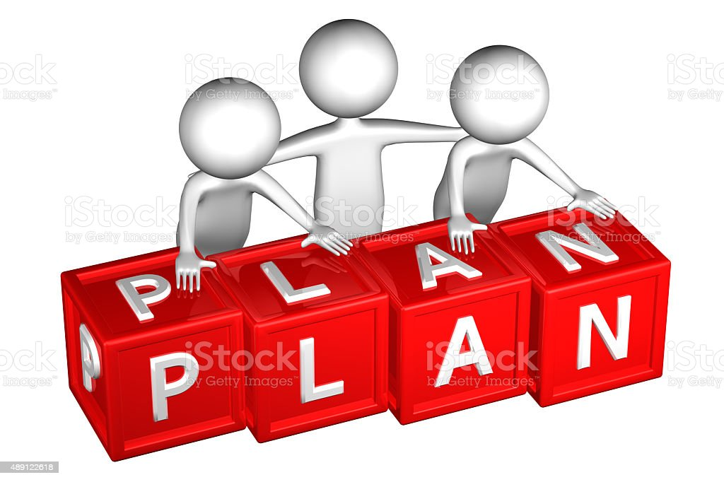 3D People with blocks with word plan stock photo