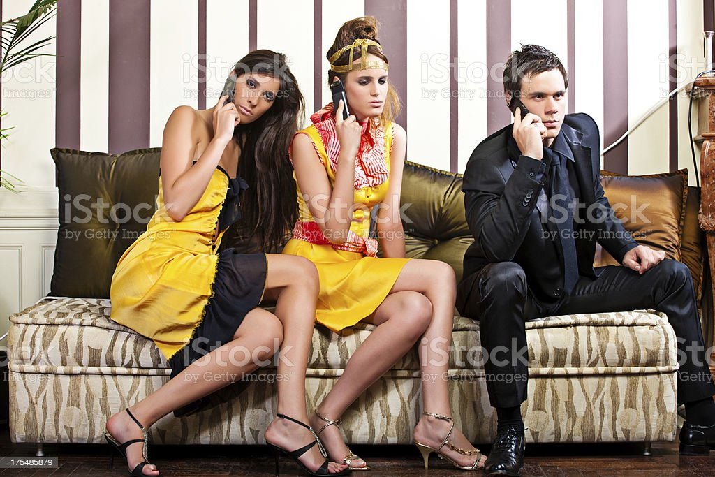 People with cell phones royalty-free stock photo