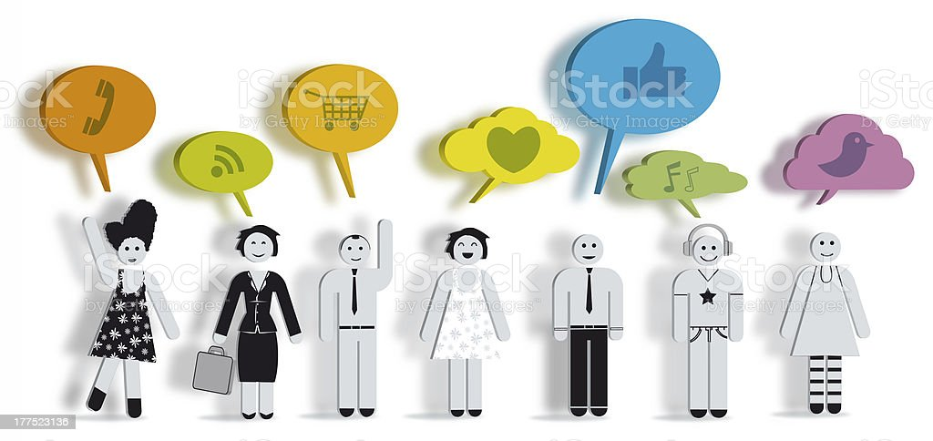 People with colorfull text bubbles stock photo