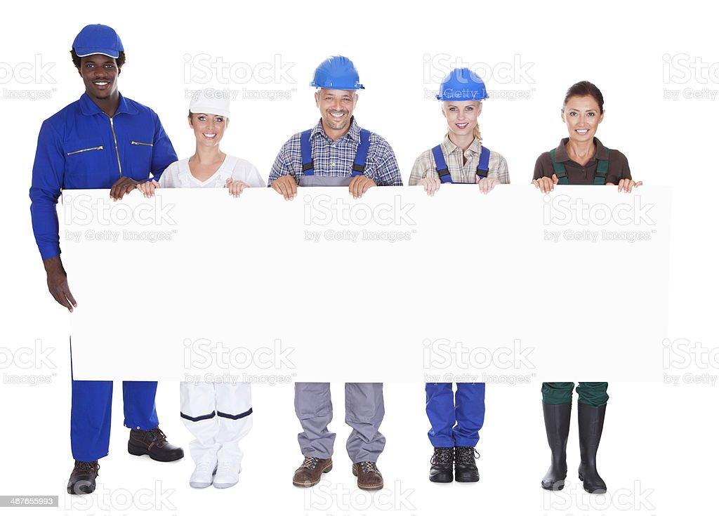 People With Diverse Professions Holding Placard royalty-free stock photo