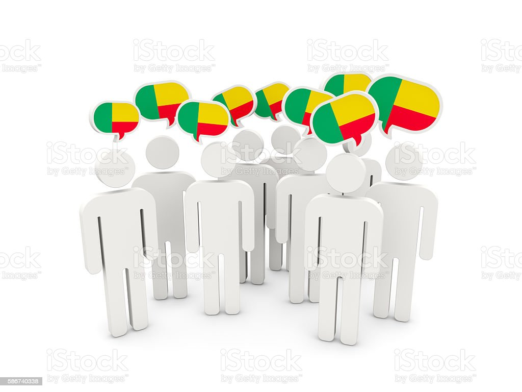 People with flag of benin stock photo