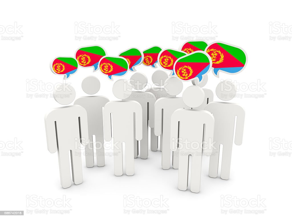 People with flag of eritrea stock photo