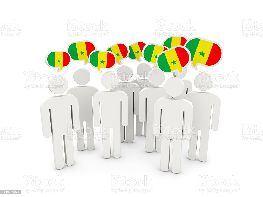 People with flag of senegal stock photo