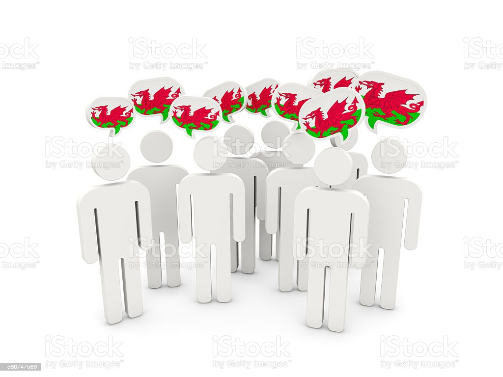 People with flag of wales stock photo