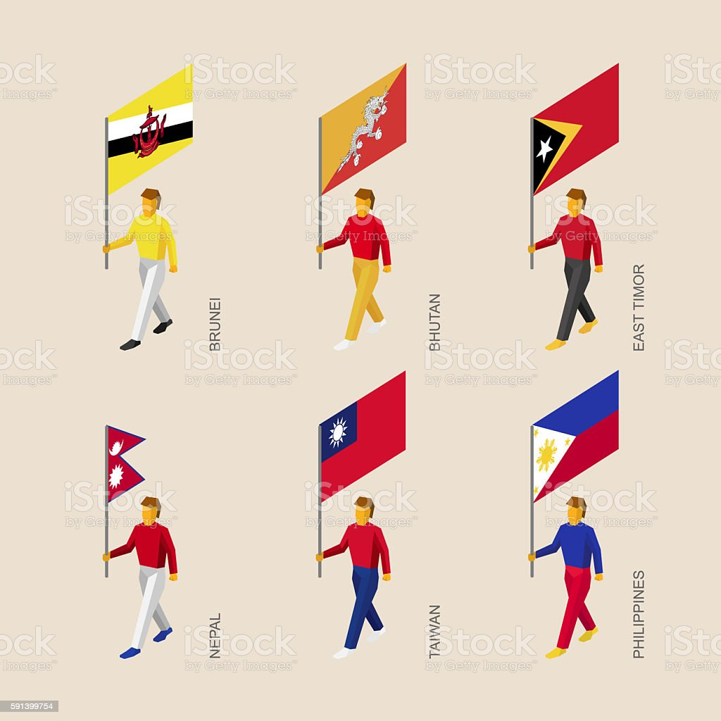 People with flags Butan, Brunei, East Timor, Nepal, Taiwan, Phil stock photo