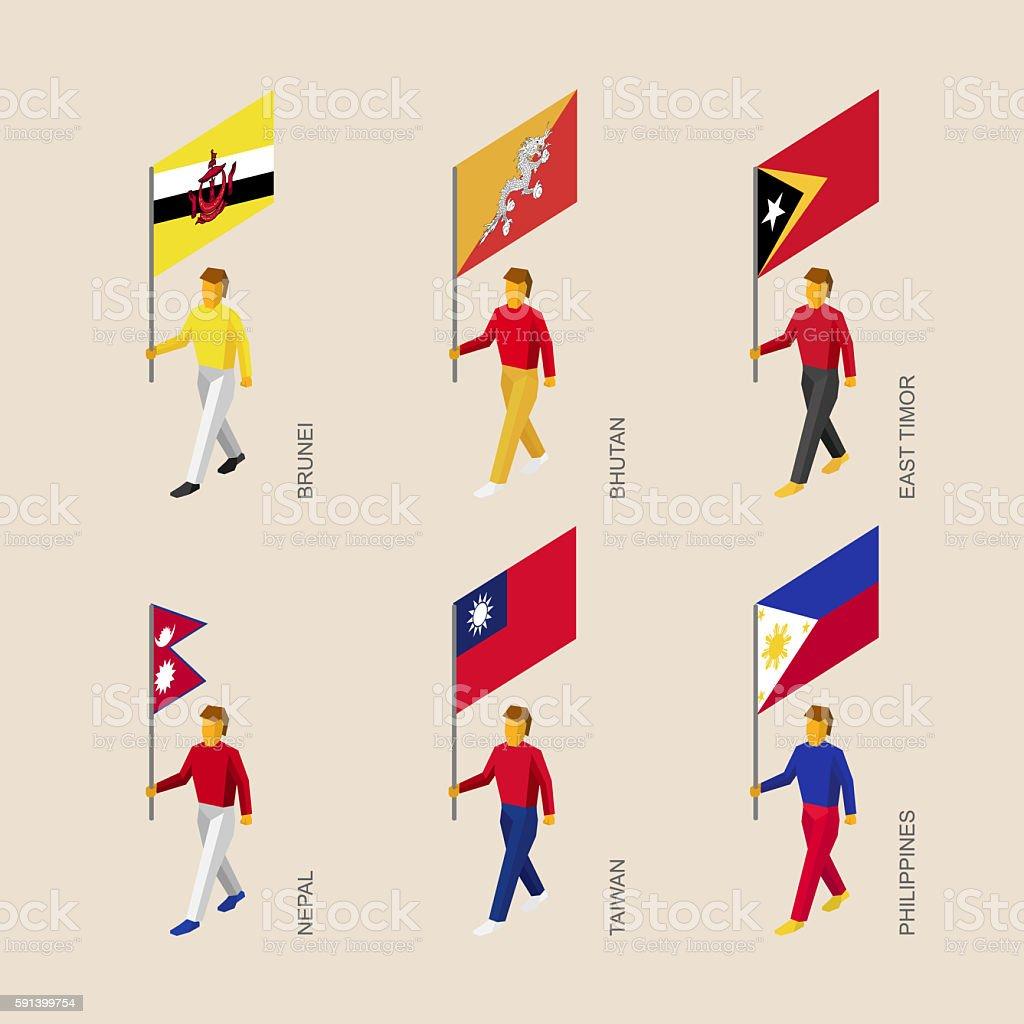 People with flags Butan, Brunei, East Timor, Nepal, Taiwan, Phil stock photo